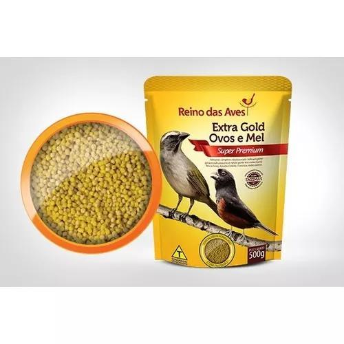 Kit 3 ração extra gold ovos e mel 500gr - reino das aves