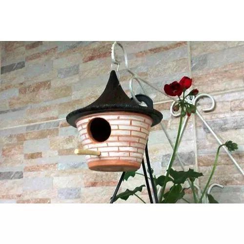 Kit c/ 4 casinha, ninho, chalé de barro. pássaros e