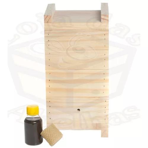 Kit caixa para abelha jataí +cera + feromônio