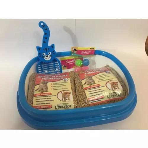 Caixa sanitária p/ gatos com 4kg de granulado, pa, e