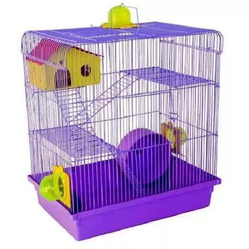 Gaiola hamster 3 andares lilas anao russo chines sirio 12x