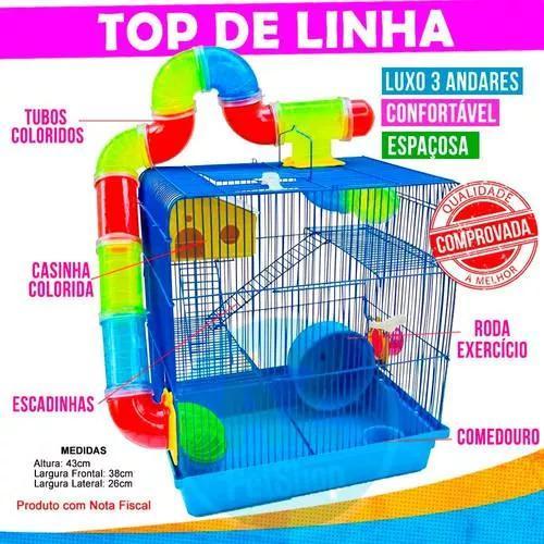 Gaiola hamster 3 andares tubos labirinto gerbil colorida