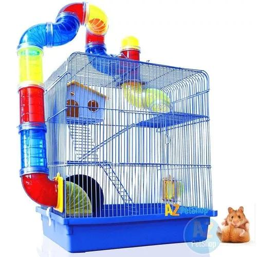 Gaiola hamster labirinto 3 andares azul 42x38x26 cm