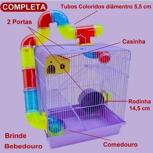 Gaiola hamster roedores 3 andares casinha escadinha