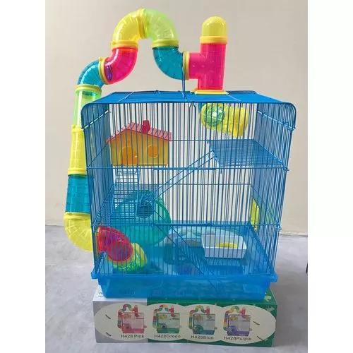 Gaiola labirinto 3 andares p/ hamster e roedores roxa e azul