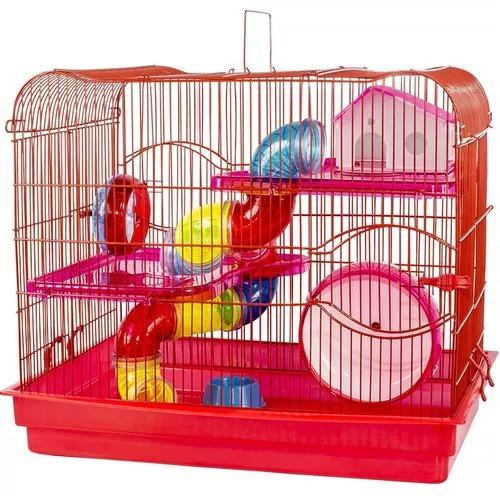 Gaiola luxo 3 andares rodinha 18cm hamster anão chinês