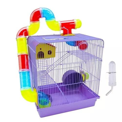 Gaiola p/ hamster 3 andares tubos labirintos 12 x s