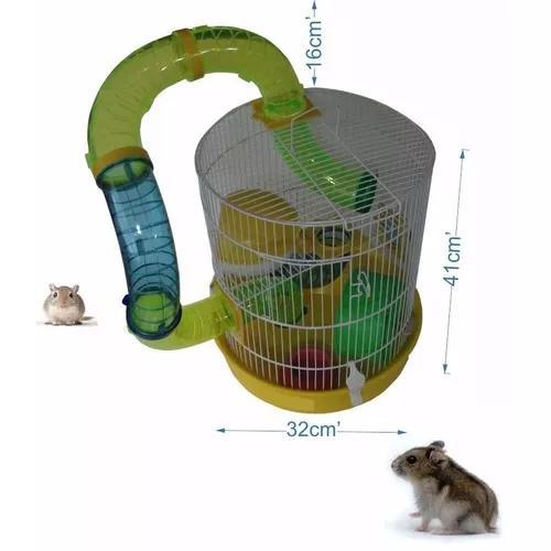 Gaiola para hamster redonda tubos divertidos