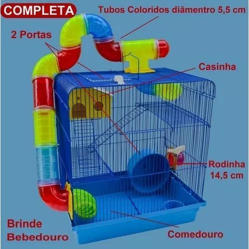Gaiola para hamster topolino com bebedouro e roda 14 cm