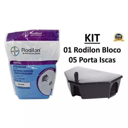 Kit - raticida rodilon bloco 1 kg + 05 porta iscas c/ chave