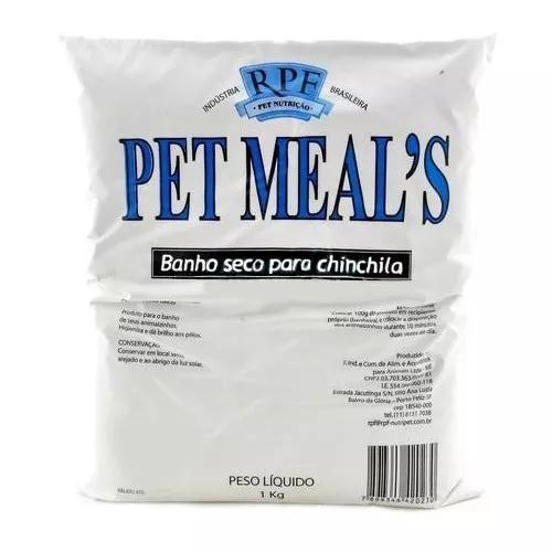 Pó para banho seco pet meal's chinchilas