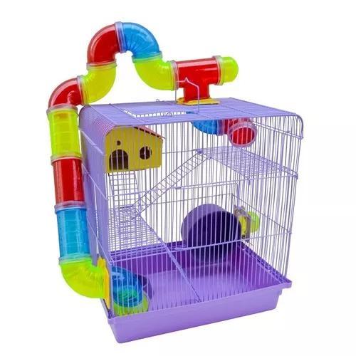 Habitat gaiola com tubos hamster topolino e anão russo
