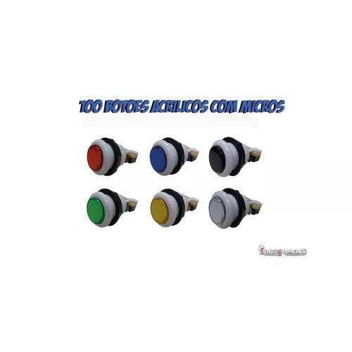 100 botões acrílico com micro e rosca para fliperama
