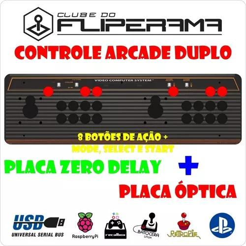Controle arcade 8 botões duplo zero delay e placa óptica