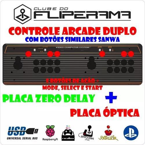 Controle arcade duplo botões similares sanwa placa óptica