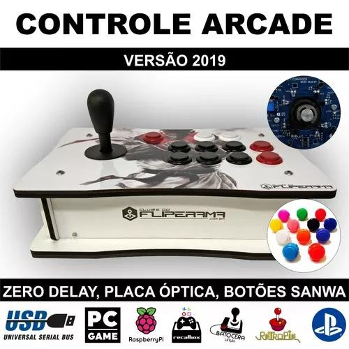 Controle Arcade Óptico Zero Delay Botões Sanwa Versão