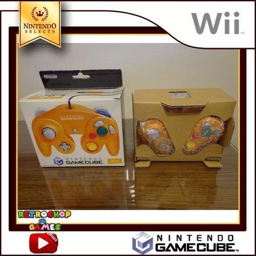 Controle original nintendo game cube e wii - laranja - novo
