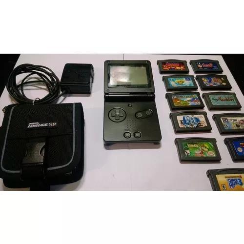 Game boy advance sp preto com 11 jogos case carregador