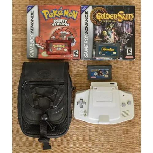 Game boy advance (gba) + 3 jogos (incl pokémon) +