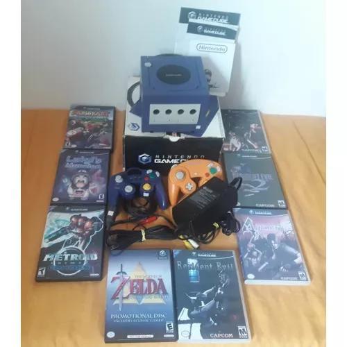 Game cube na caixa, desbloqueado com 8 jogos e 2 controles