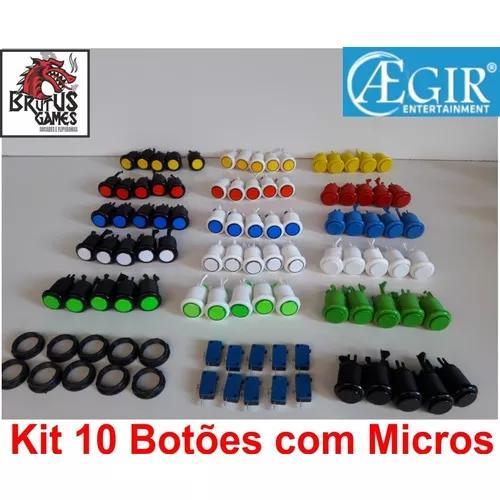 Kit 10 botões arcade c/micros promoçao