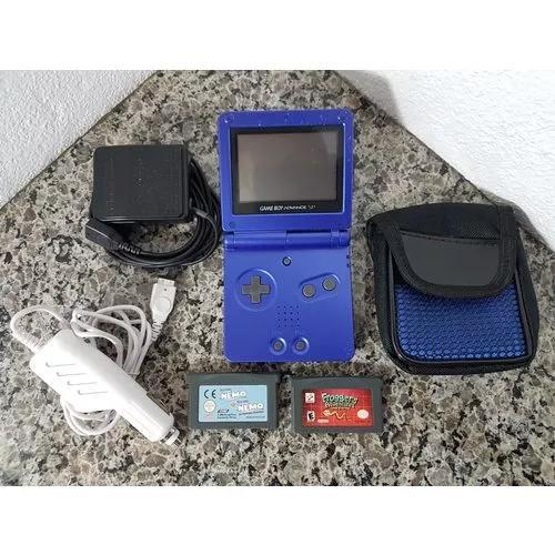 Nintendo game boy advance sp azul com 3 jogos 2 carregador