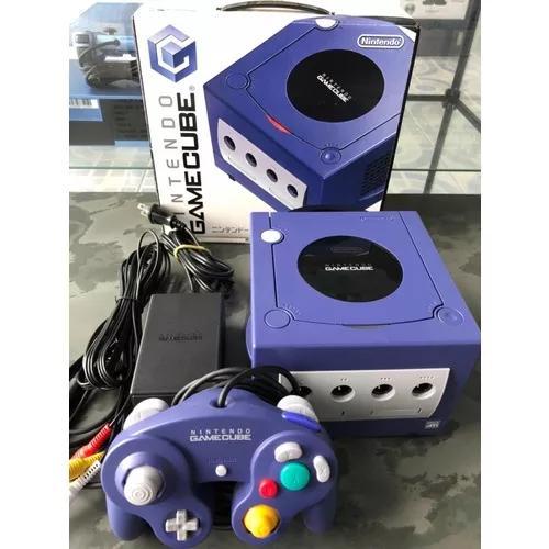 Nintendo game cube azul (violet) japonês com caixa