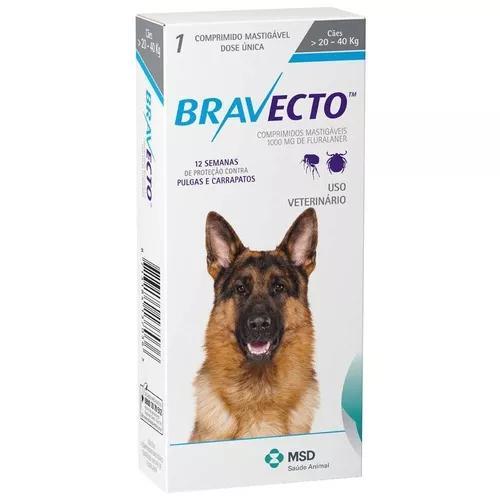 Antipulga e anticarrapato bravecto cães de 20 a 40 kg 10/19