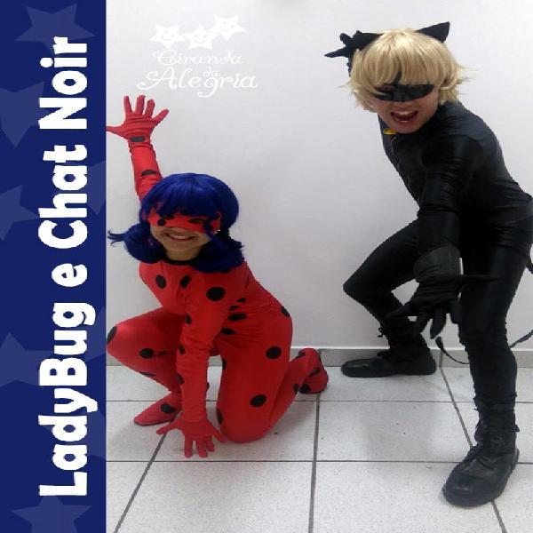 Personagem vivo: ladybug e cat noir