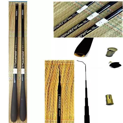 2 Vara Pesca 100% Fibra Carbono Telescópica Ultra Leve 4,5m