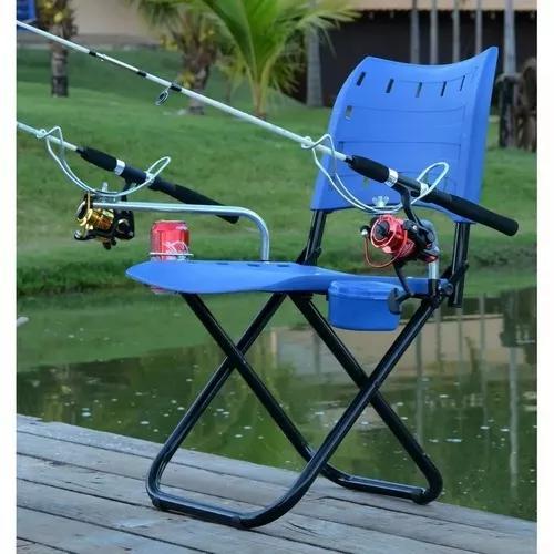 d3597ec94 Cadeira completa pesque pague suporte vara porta isca e lata