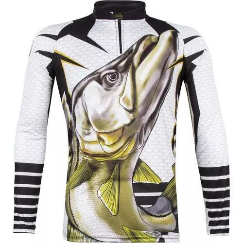 Camiseta de pesca proteção solar uv king atack 04 robalo