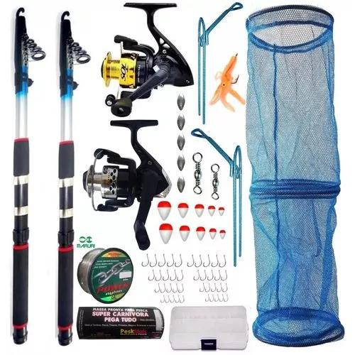 Kit pesca 2 varas 2,40 mt 2 molinete isca linha 640 m piau
