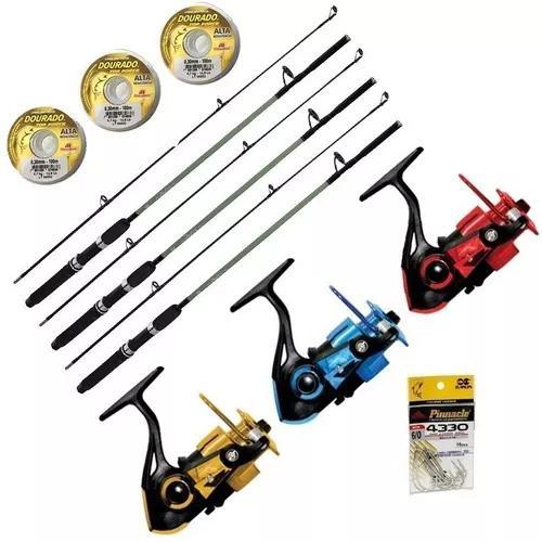 Kit pesca 3 molinetes 3 rol 3 varas 10kgs 3 linhas anzol