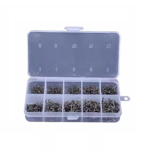 Kit pesca 600 anzóis chinu tamanhos de 3 a 12 e caixa