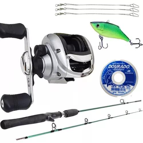 Kit pesca carretilha arena com vara e linha brinde