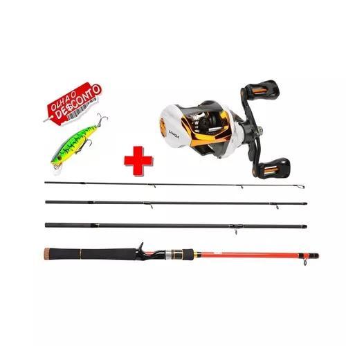 Kit pesca carretilha + vara 20lbs + isca brinde