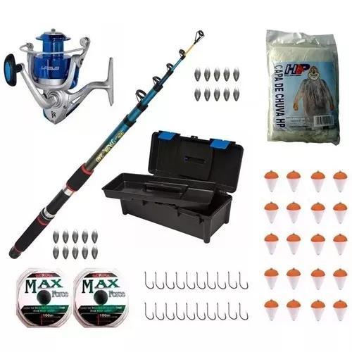Kit pesca pesada molin. lagus + vara + linha + capa + brinde