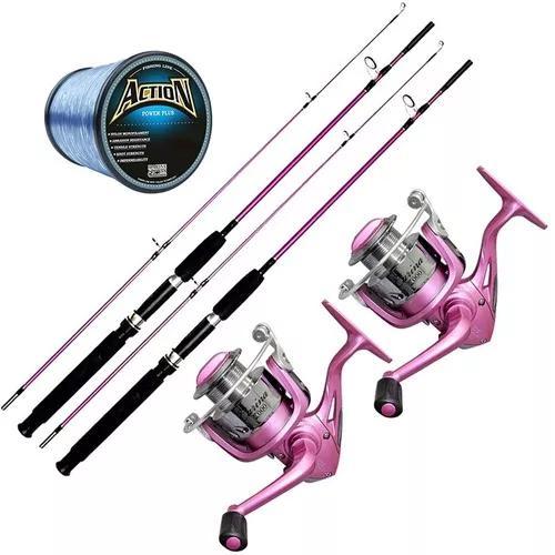 Kit pesca rosa 2 molinetes 3 rolamentos 2 varas linha 600m