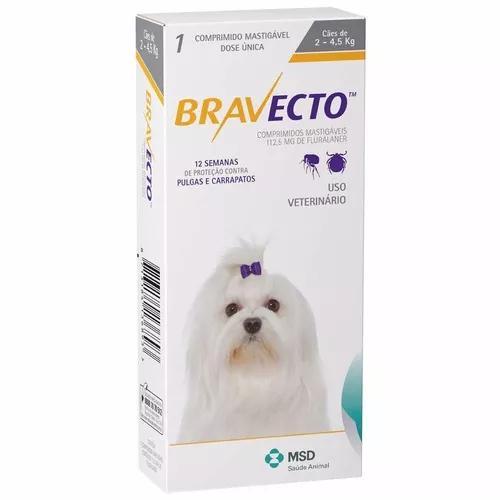 Antipulgas e carrapatos bravecto cães de2 a 4,5 kg -