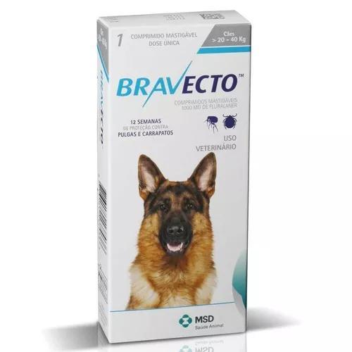 Bravecto msd cães de 20 a 40 kg 1000 mg - 10/2019