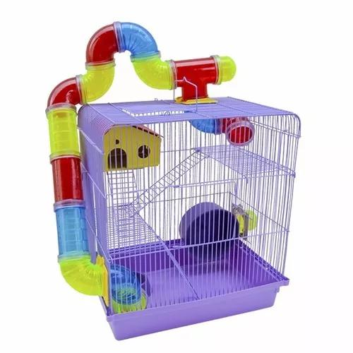 Gaiola Hamster Luxo 3 Andares Tubos Labirinto Escada Rodinha