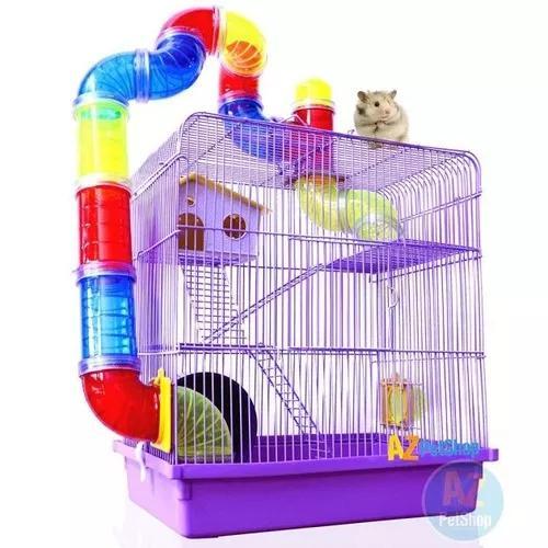 Gaiola hamster super luxo labirinto 3 andares roxo 43x38x26