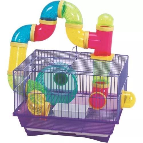 Gaiola hamster tubos/comedouro/bebedouro/roda - rosa