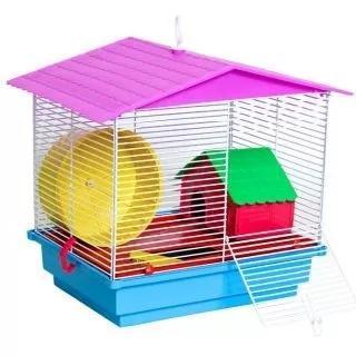 Gaiola para hamster com 1 casinha colorida promoção