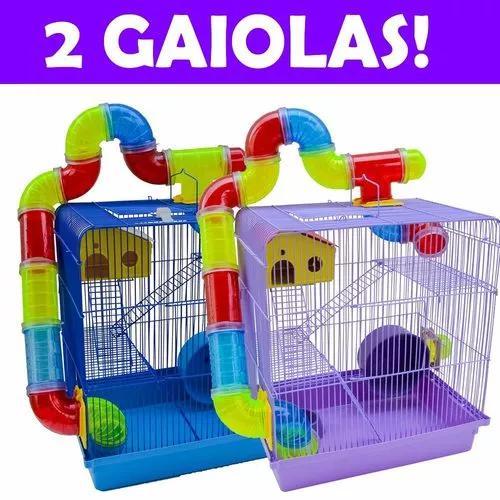 Kit 2 gaiolas hamster labirinto 3 andares colorida bonita