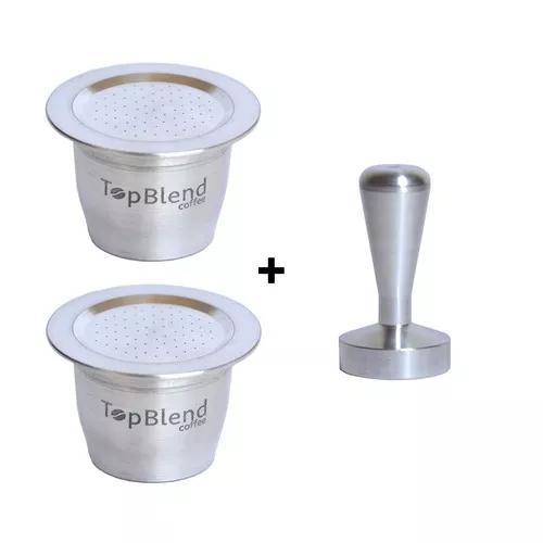 2 cápsulas reutilizáveis nespresso topblend + tamper +