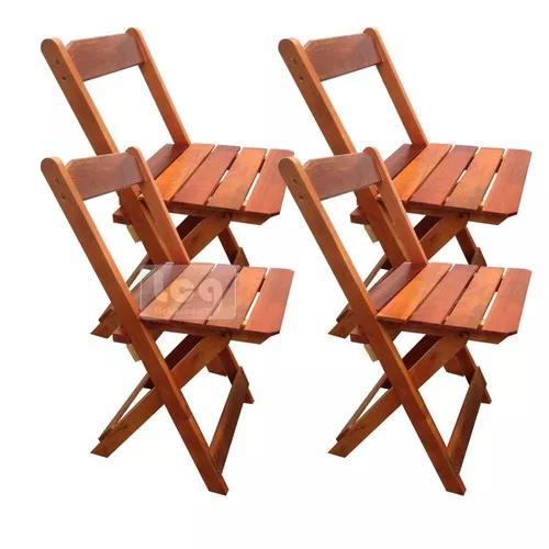 4 cadeiras dobrável bar e restaurante madeira maciça mel