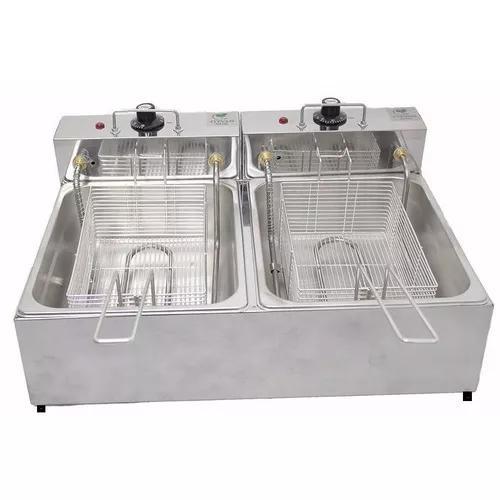 Fritadeira elétrica 2 cubas 10 litros 220v profissional