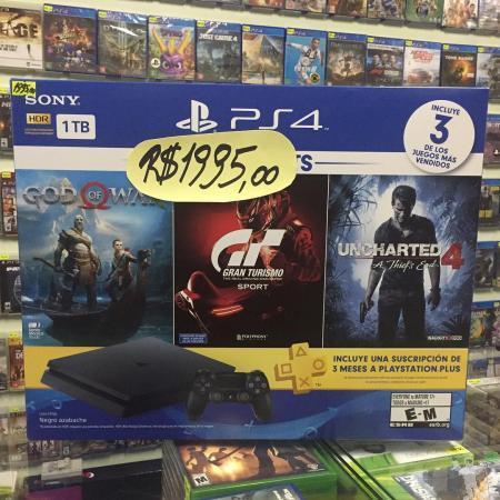 Playstation 4 hd 1tb novo lacrado c/ 3 jogos mídia física